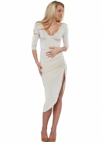 Abyss Lipstick Oyster Sexy Thigh High Split Midi Dress