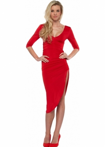 Abyss Lipstick Scarlet Red Sexy Thigh High Split Midi Dress