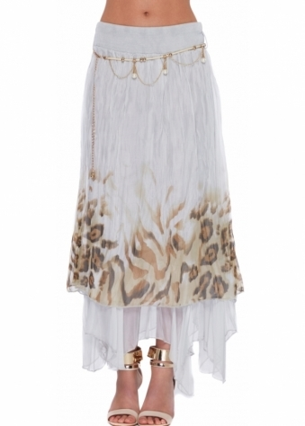 Monton Maxi Skirt In Grey Leopard Print Layered Silk With Pearl Chain Belt