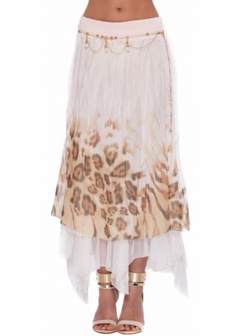 Monton Maxi Skirt In Pink Leopard Print Layered Silk With Pearl Chain Belt