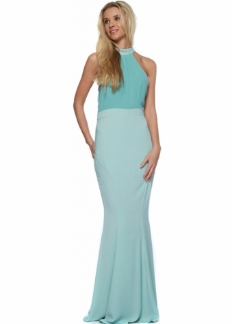 Jarlo Caden Mint Green Chiffon Halter Neck Maxi Dress