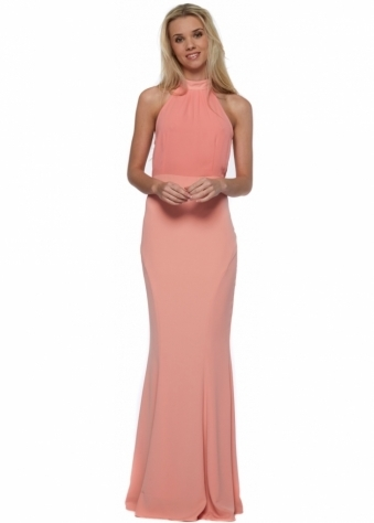Jarlo Caden Peach Chiffon Halter Neck Maxi Dress