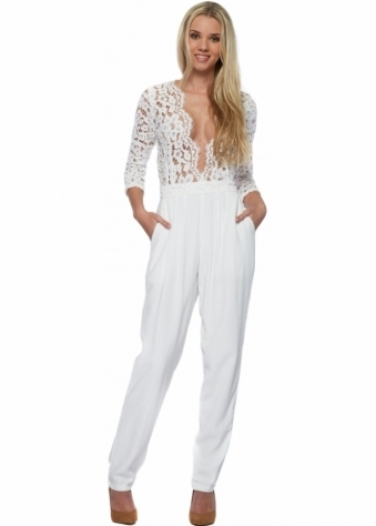 Miss Milne Heart Of Glass White Jumpsuit With Lace & Mesh Bodice