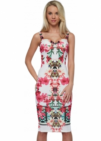 One More Night Floral Bodycon Midi Dress