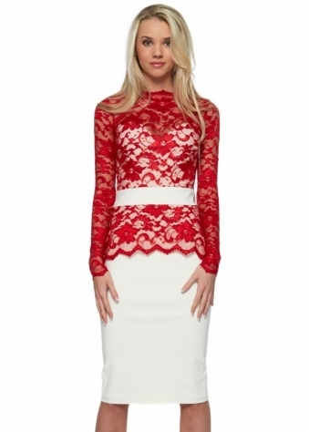Tempest Limited Edition Red Lace Overlay Cream Billie Pencil Dress