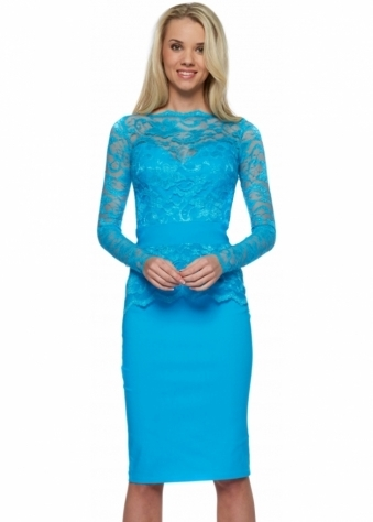 Tempest Aqua Lace Overlay Billie Pencil Dress