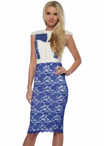 Hunter Dress In Cream With Cobalt Blue Lace