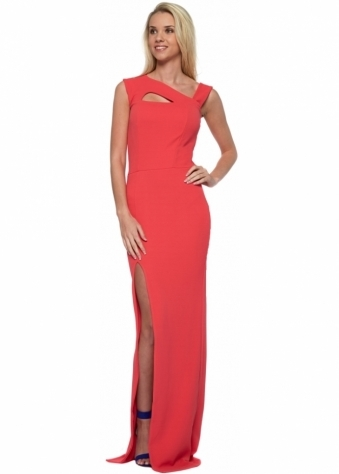 Lexi Strappy Coral Maxi Dress