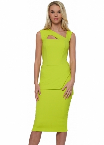 Honor Gold Lexi Peplum Lime Midi Dress