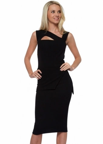 Honor Gold Lexi Peplum Black Midi Dress