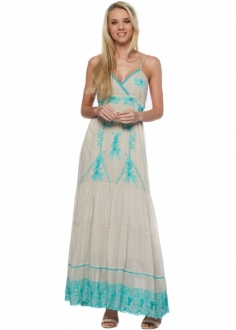 Turquoise Lace Ecru Strappy Summer Maxi Dress