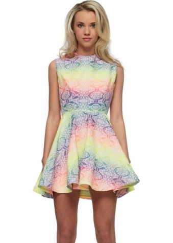 Becky Cut Out Back Neon Rainbow Mini Skater Dress
