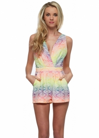 Rebecca Rhoades Polly Neon Rainbow Woven Damask Print Crossback Playsuit
