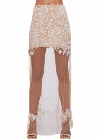 For Love & Lemons Luau White Sheer Lace Maxi Skirt