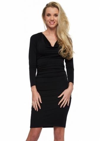 Little Black Dress Gemma Low Cowl Back Long Sleeved Midi Dress