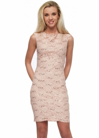 Suki Baby Pink Sequinned Mini Dress