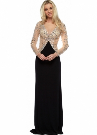 Sylvia Nude Tulle Crystal Adorned Black Evening Dress