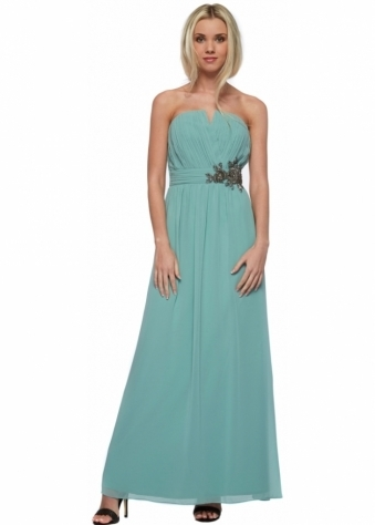Little Mistress Sage Bandeau Maxi Dress With Floral Embellishment
