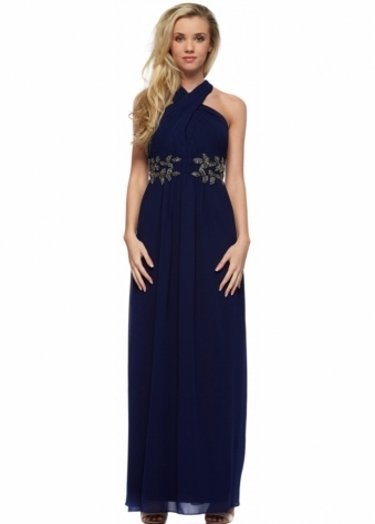 Little Mistress Navy Blue Wrap Neck Leaf Embellished Maxi Dress