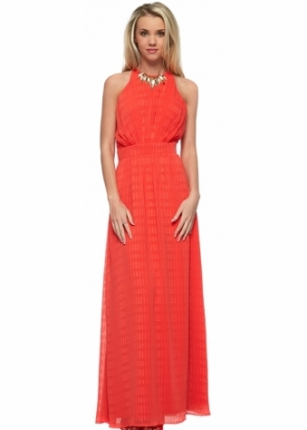 Little Mistress Papaya Textured Chiffon Maxi Dress With Necklace