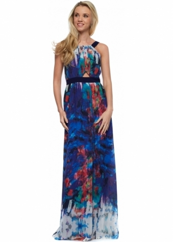 Little Mistress Multi Print Belted Chiffon Maxi Dress