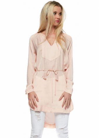 Blush Pink Tie Silky Long Sleeved Tunic Top