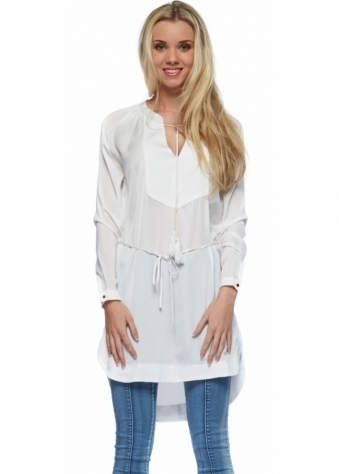 White Tie Silky Long Sleeved Tunic Top