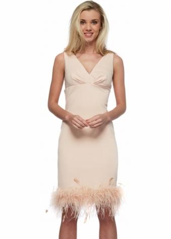 Nude Audrey Dress With Feather Boa Hem