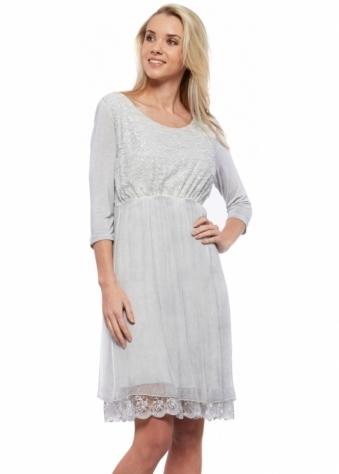 Sequin & Lace Grey Layered Silk Chiffon Dress
