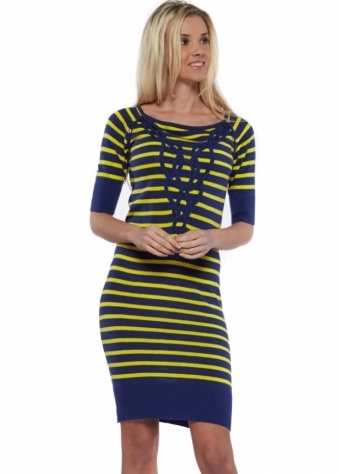 Blue & Yellow Stripe Fine Knitted Jumper Dress