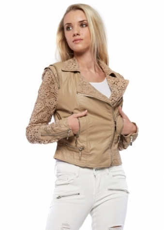 Urban Mist Beige Fitted Leather Biker Jacket With Lace Crochet Sleeves