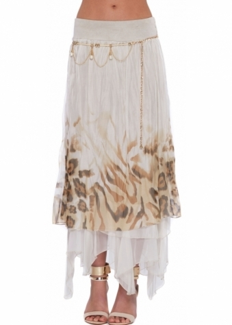 Monton Maxi Skirt In Beige Leopard Print Layered Silk With Pearl Chain Belt