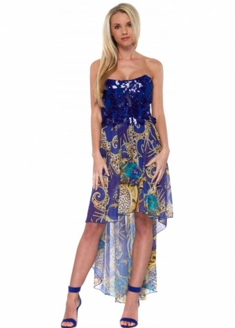 Blue Sequinned Bodice Silk Waterfall Hi Lo Dress
