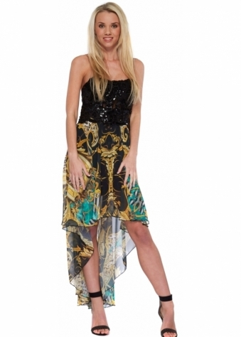 Party 21 Black Sequinned Bodice Silk Waterfall Hi Lo Dress