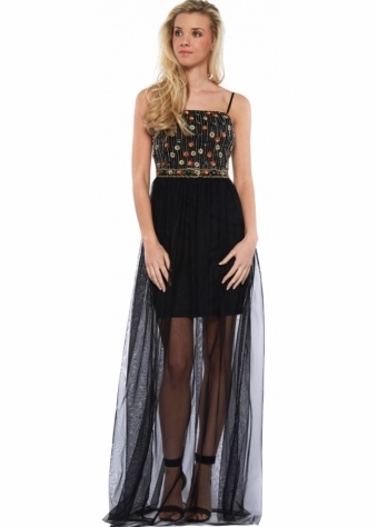 Beaded Bodice Black Mesh Skirt Maxi Dress