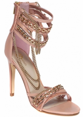Nude Pink Strappy Soleil Sandals With Gold Chains