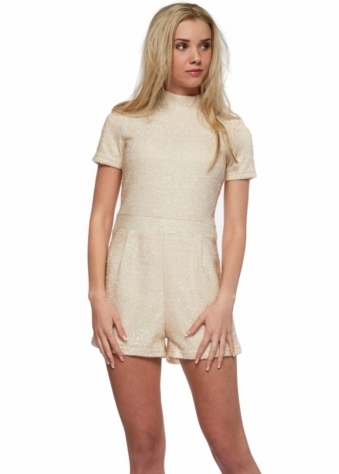 Cream Textured Lurex Short Sleeve Playsuit