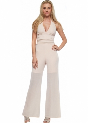 Designer Desirables Halterneck Jumpsuit In Nude Pink Lurex