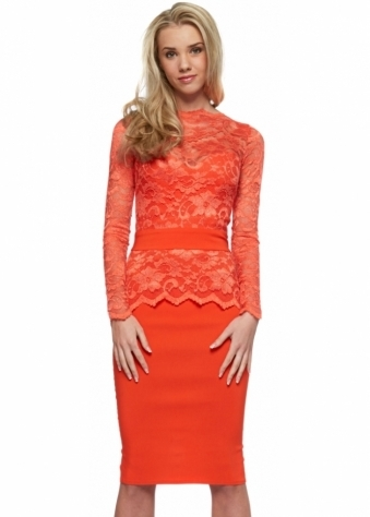 Tempest Billie Pencil Dress In Orange Lace