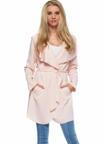 Lightweight Baby Pink Tie Belt Waterfall Jacket