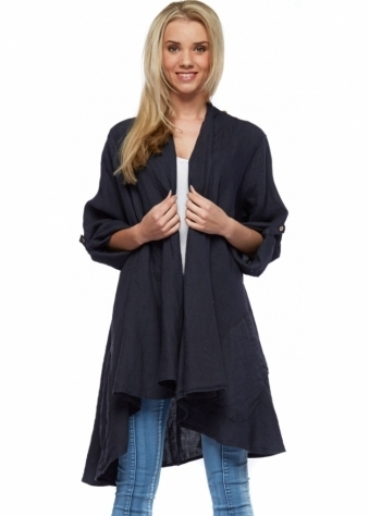 Designer Desirables Navy Blue Linen Cowl Neck Jacket