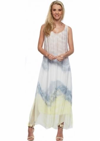 J&L Paris Mocha & Yellow Watercolour Print Silk Maxi Dress