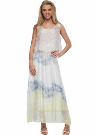 Monton Mocha & Yellow Watercolour Silk Bib Bodice Maxi Dress
