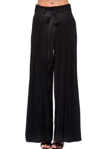 Black Wide Leg Tie Front Trousers