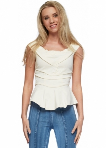 Hand Stitched Cream Peplum Viv Top