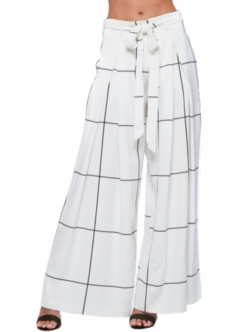 White Check Print Wide Leg Tie Front Trousers