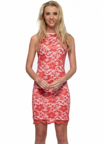 Tempest Macy Coral Lace Mini Pencil Dress