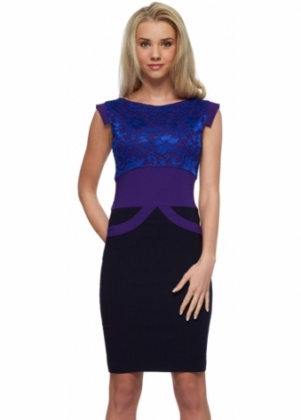 Tempest Ollie Dress In Purple With Cobalt Lace Pencil