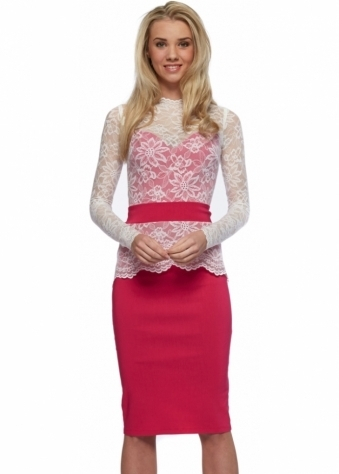 Tempest Cream Lace Overlay Hot Pink Billie Pencil Dress