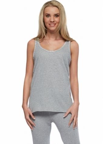 Designer Desirables Pamela Grey Crystal Trim Cotton Vest Top
